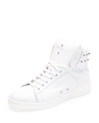Studded High-Top Sneaker, White