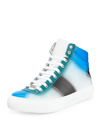 Belgravia Spray-Paint High-Top Sneaker, Blue