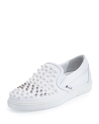 Grove Men's Leather Skate Shoe with Studs, White