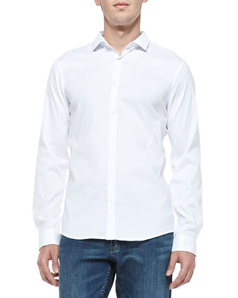 Slim-Fit Stretch-Poplin Shirt, White