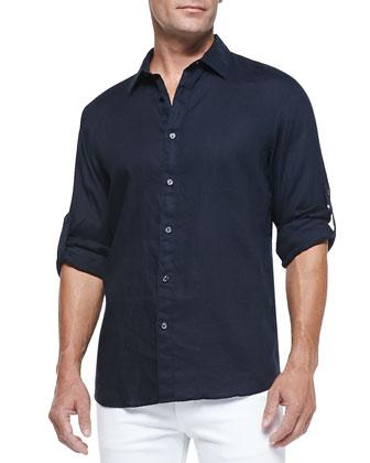 Linen Roll-Tab Shirt & White Denim Jeans