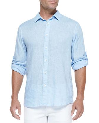 Linen Roll-Tab Shirt, Light Blue