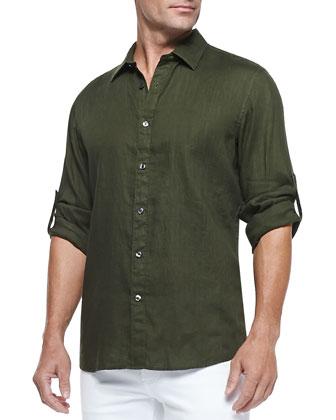 Linen Roll-Tab Shirt, Army