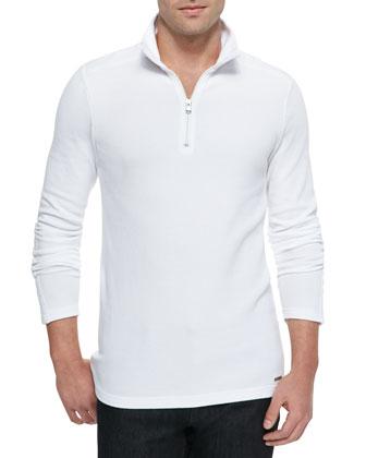 Waffle-Knit Half-Zip Sweater, White