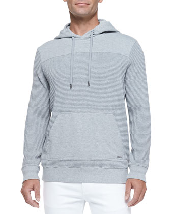 Waffle-Knit Pullover Hoodie, Gray