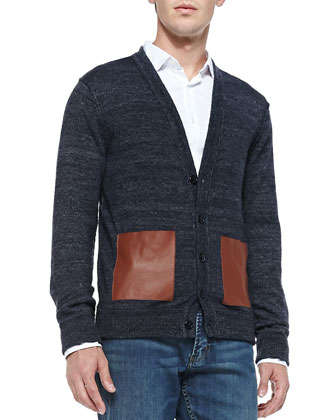 Melange-Knit Cardigan with Leather Pockets, Blue