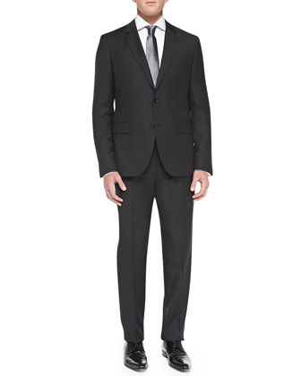 Tonal-Stripe Travel Suit, Black