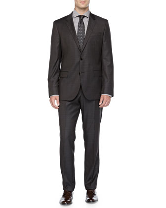 Grid-Check Two-Piece Suit, Brown