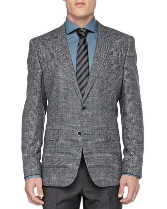 Windowpane-Plaid Jacket, Gray