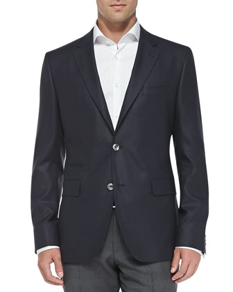 Two-Button Silk Suit Jacket, Navy