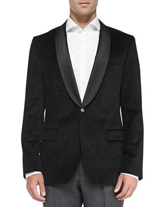 Velvet Paisley-Print Jacket, Black