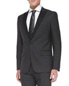 Herringbone Contrast-Lapel Jacket