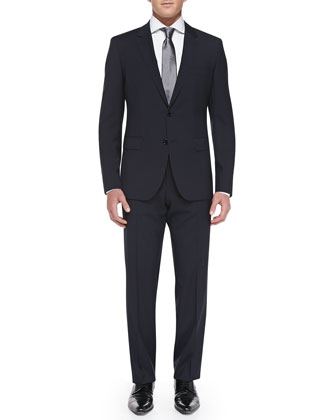 Track-Stripe Two-Piece Suit, Navy
