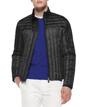 Quilted Zip-Front Jacket, Black