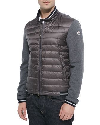 Bicolor Quilted Front-Zip Jacket, Taupe/Gray