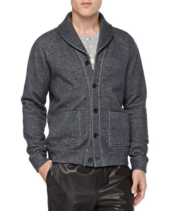 Melange Fleece Cardigan, Black