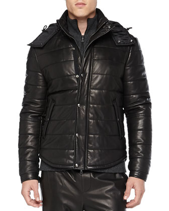 Quilted Leather Puffer Jacket, Wool Cable-Knit Zip Cardigan & Leather ...