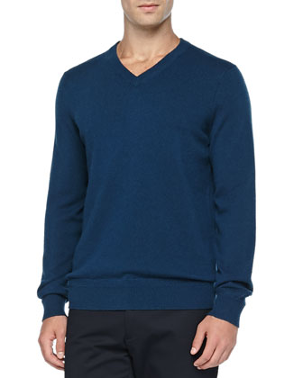 Cashmere V-Neck Pullover Sweater, Blue