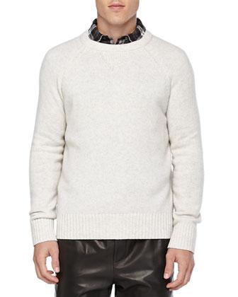 Wool/Cashmere Sweatshirt Sweater, White