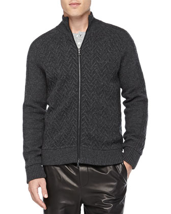 Wool Cable-Knit Zip Cardigan, Black