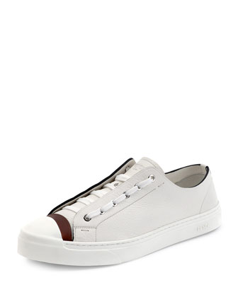 Icon Leather Low-Top Sneaker, White