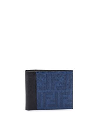 Coated Zucca Bi-Fold Wallet, Blue