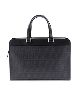Zucca-Print Leather Briefcase