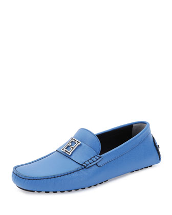 Leather Zucca-Buckle Driving Shoe, Blue