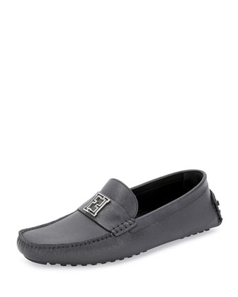 Leather Zucca-Buckle Driving Shoe, Gray