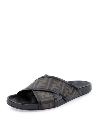 Zucca-Print Crisscross Sandal, Tobacco
