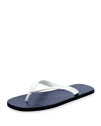 Zucca-Print Beach Flip-Flop, Blue
