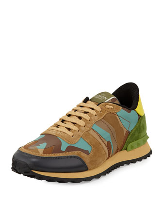 Rockstud Leather Camo Trainer, Light Brown
