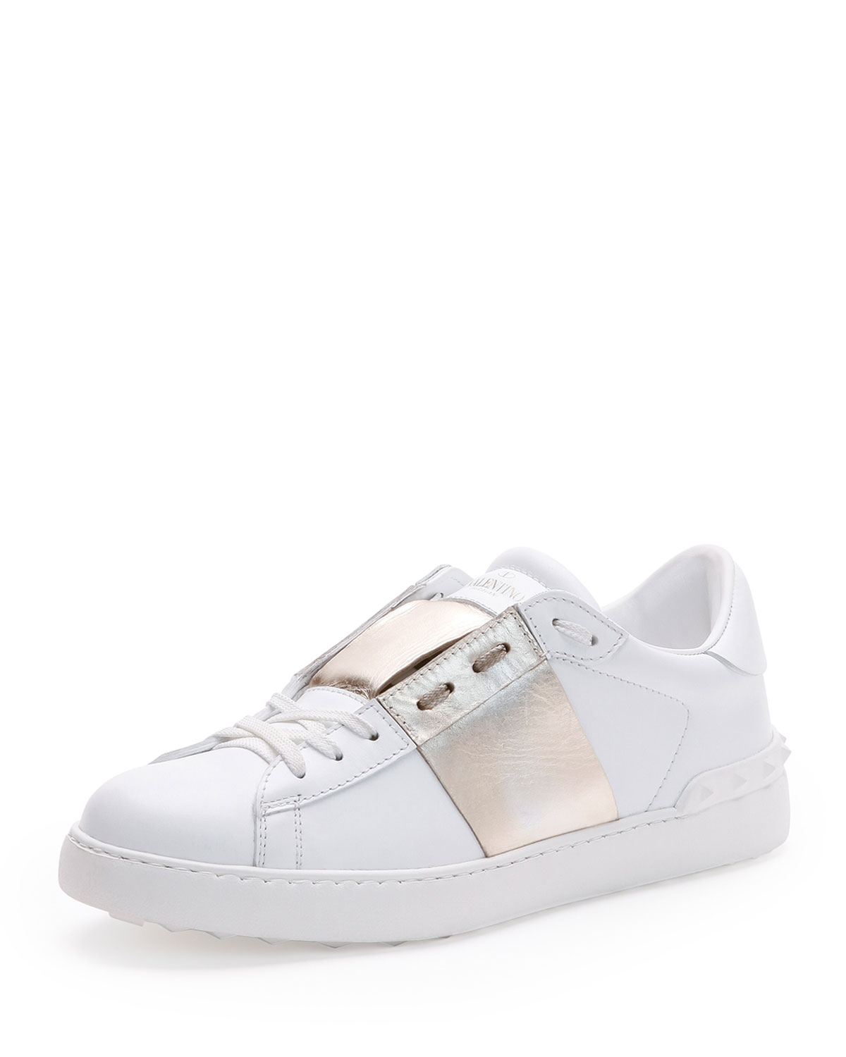 Low-Top Sneaker with Stripe, White/Gold, Size: 39.5/6.5D - Valentino