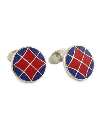 Round Red & Blue Cuff Links