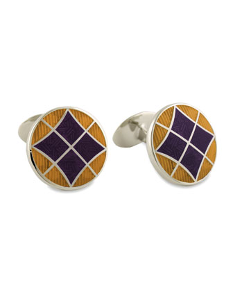 Round Violet & Gold Cuff Links