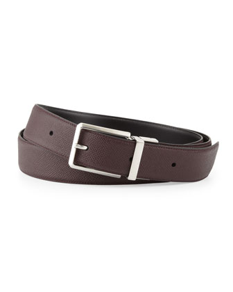 Textured Belt with Faceted Buckle, Brown