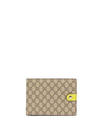 Micro GG Supreme Canvas Bi-Fold Wallet, Yellow