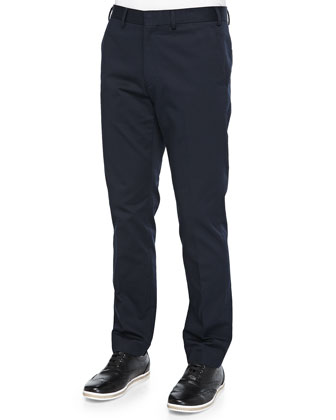 Madison Flat-Front Trousers, Navy