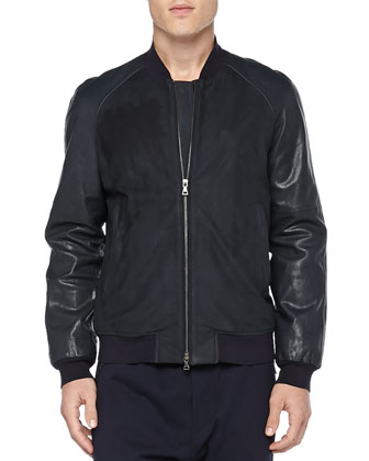 Leather Baseball Jacket, Navy