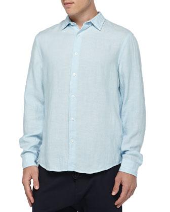 Linen Button-Down Shirt & Knit Jogger Pants