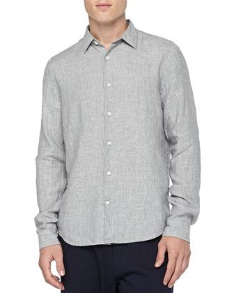 Linen Button-Down Shirt, Gray
