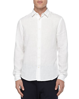 Button-Down Linen Chambray Shirt, White
