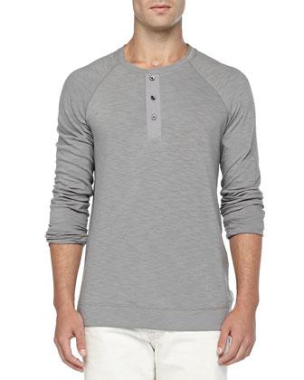 Slub Long-Sleeve Henley, Gray