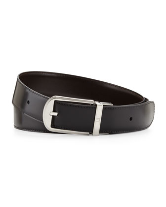 Edge-Detail-Buckle Leather Belt