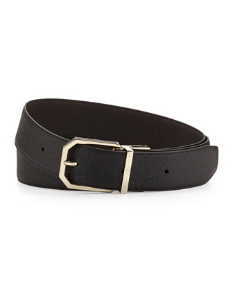 Gold Facet Insert Belt, Black