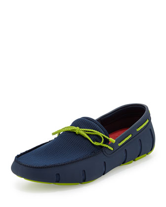 Braided Bow Water-Resistant Loafer, Navy/Green