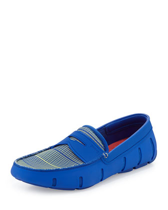 Water-Resistant Penny Loafer, Stripe Blue