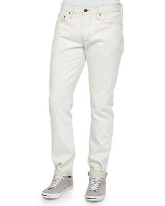 Slub Knit Pullover Hoodie & Slim-Fit Denim Jeans