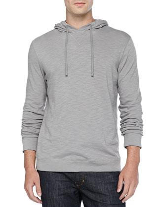 Cotton Slub Pullover Hoodie, Gray
