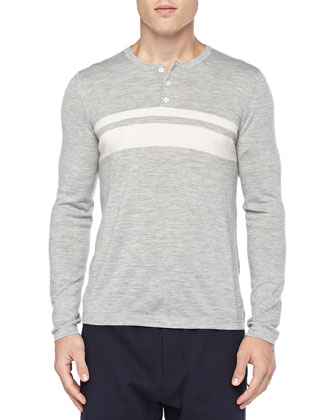 Chest-Stripe Long-Sleeve Henley, Gray